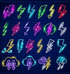 glow neon lightning led panel flashes thunder vector image