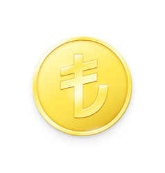 Gold coin with lira sign vector