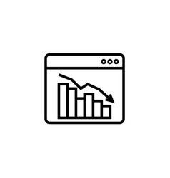 graph table arrow decrease icon dollar money fall vector image