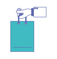 Hand holding a shopping bag in blue and purple vector