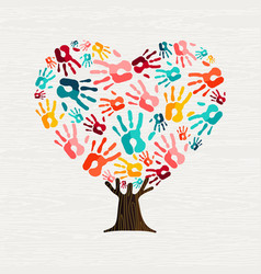 Hand tree in heart shape for love concept vector