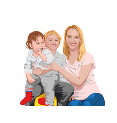 Happy family mom cuddling her two sons smiling vector