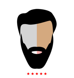 head with beard and hair icon flat style vector image