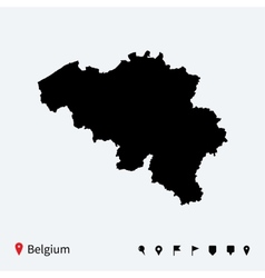 High detailed map of Belgium with navigation pins vector image