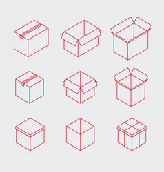 Isometric outline box icon set vector