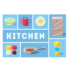 kitchenware collection kitchen tools cooking vector image