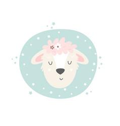 lamb hand drawn face character vector image
