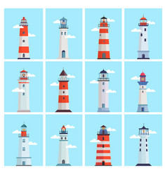 lighthouse sea set tower with a spotlight on the vector image