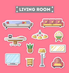 living room furniture icon set in flat style vector image
