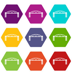 metal bridge icons set 9 vector image