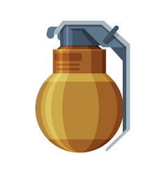 Military hand grenade combat weapon object flat vector