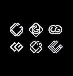 Modern professional set monogram cg on black vector