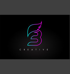 Neon b letter logo icon design with creative wing vector