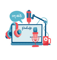 on air sign podcast concept record studio devices vector image