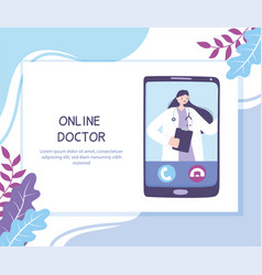 online doctor practitioner video calling on a vector image