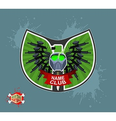 Paintball logo shield with wings Emblem Mortal vector image