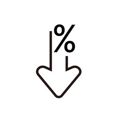 percent down line icon percentage arrow reduction vector image