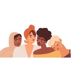 portrait multiracial women friends diverse vector image