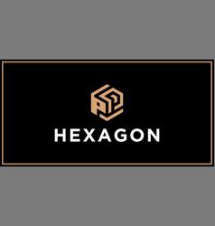 Pp hexagon logo design inspiration vector