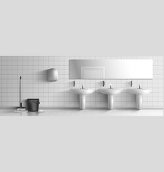 Public toilet washed with mop interior vector