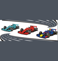racing cars on background race track vector image