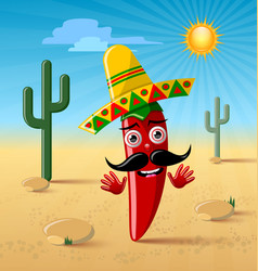 Red chilli pepper character with sombrero hat vector