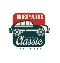 repair service classic car wash logo design vector image