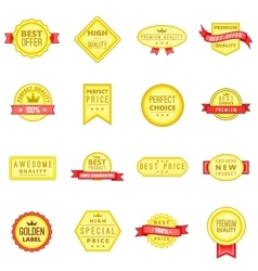 Retail label icons set in cartoon style vector image