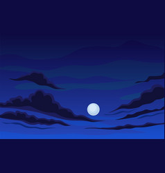 Round moon on a dark blue night sky vector