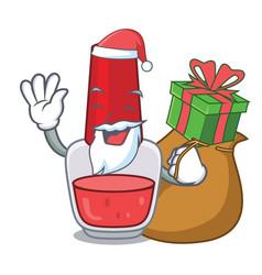 Santa with gift nail polish mascot cartoon vector