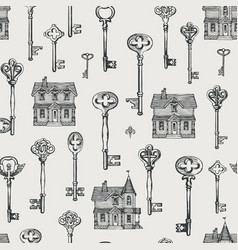 seamless pattern with vintage keys and old houses vector image