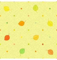 Seamless polka dots pattern with autumn leaves vector