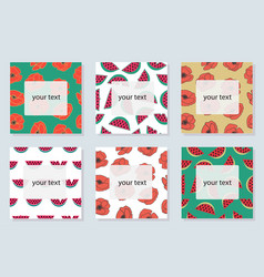 Set 6 bright cards with summer symbols vector