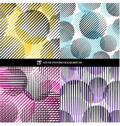 Set abstract oblique black stripes pattern vector