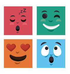 Set faces emoticons characters icons vector