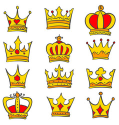 Set glamour crown doodle vector