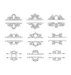 set of line monograms vintage floral frames vector image