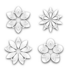 set of white paper flower buds vector image