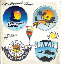 summer vacation and travel labels vector image