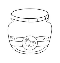 sweet strawberry jam pot vector image