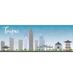 Taipei skyline with grey landmarks and blue sky vector