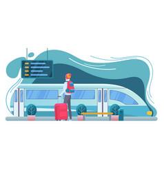 traveler at railway station flat vector image