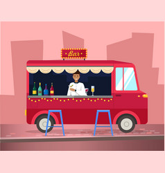 truck with bartender making alcohol drink vector image