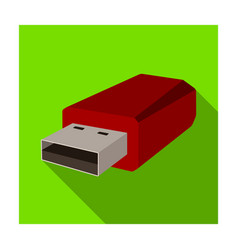 Usb flash drive icon in flat style isolated on vector