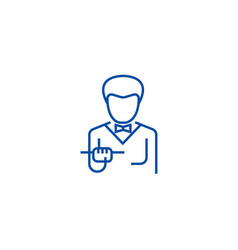 waiter with food tray line icon concept waiter vector image