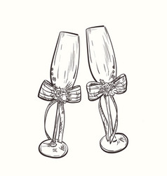 Wedding wineglasses vector