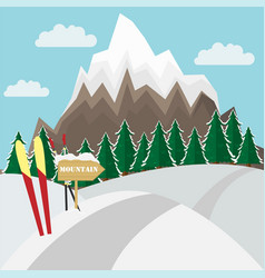 Winter mountain landscape background witn ski in vector