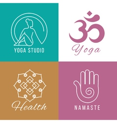 Yoga logo set Floral and nature harmony zen health vector