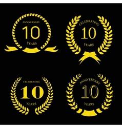10 years anniversary laurel gold wreath set vector image vector image