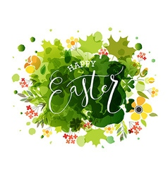 Hand sketched happy Easter text as logotype badge vector image vector image